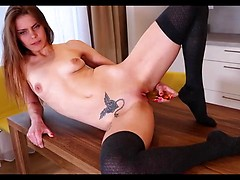 Paula Pee wants to show you all her secrets, so get ready for the ride. After she flashes her tits and panties, the super skinny student strips down to her socks and wets the tip of her favorite dildo with her lush mouth before shoving it deep in her cum