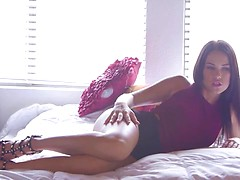 Lusty coed Megan Rain uses a horny blowjob and a bald pussy stiffie ride to seduce her man into a raunchy fuck fest